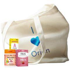 Keräilykampanja / Orionin tuotteita ja puuvillakassi